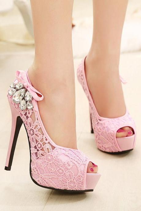 Sexy lace hollow fish head shoes 6547GH