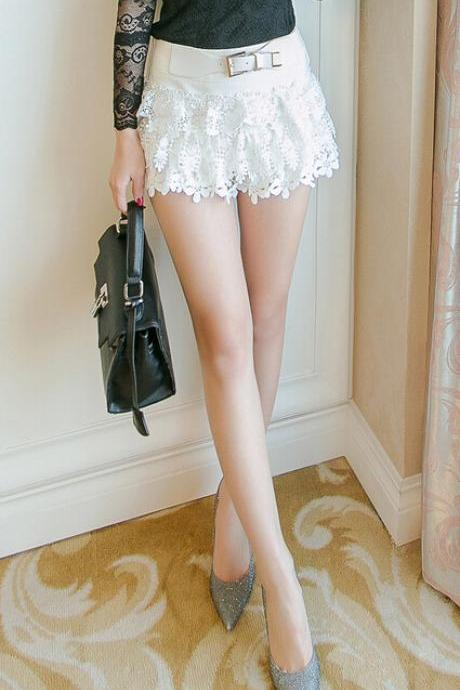 Lace embroidery shorts--white