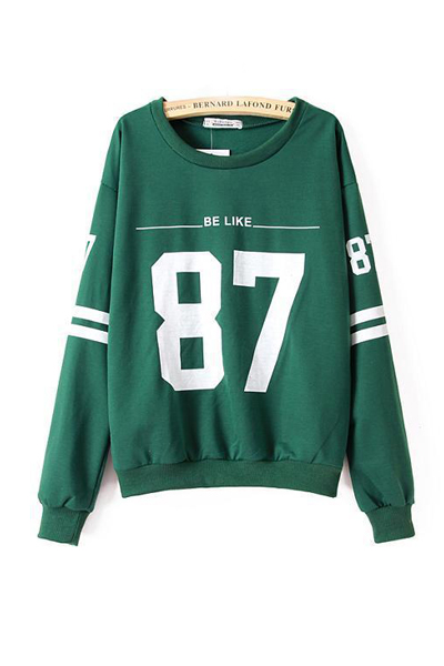 Cheap New Style O Neck Long Sleeves Numerals Print Green Cotton Blends Regular Pullover