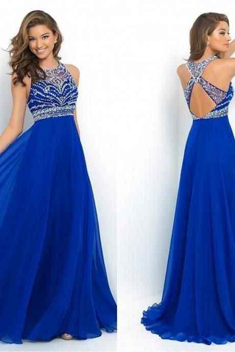 Royal Blue Chiffon A-Line Prom Dress 2015 Halter Bandage Backless Sparkly Beading Long Prom Dress