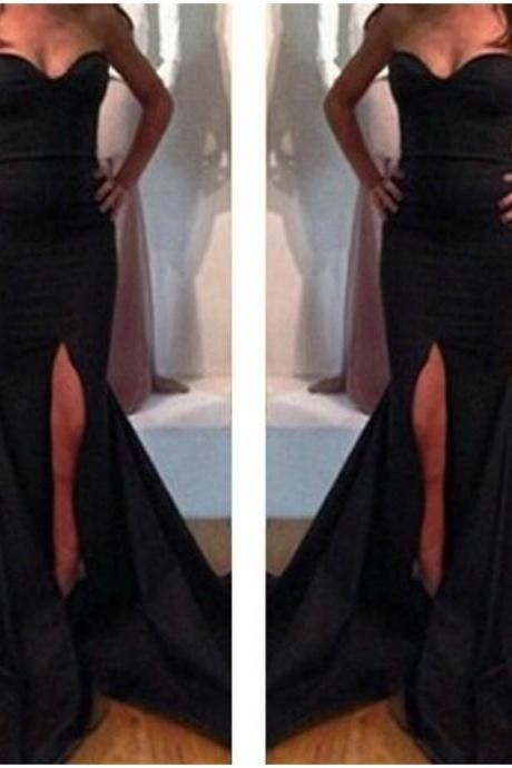 Sexy Off Shoulder Black Mermaid Dress With Slit
