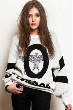 Cheap Punk Style Long Sleeves Eagle Print White Cotton Blend Regular Pullover