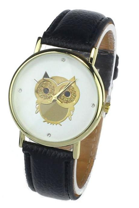 Owl watch, black leather watch, leather watch, bracelet watch, vintage watch, retro watch, woman watch, lady watch, girl watch, unisex watch, AP00171