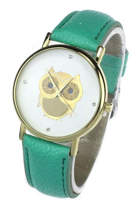 Owl watch, mint leather watch, leather watch, bracelet watch, vintage watch, retro watch, woman watch, lady watch, girl watch, unisex watch, AP00174