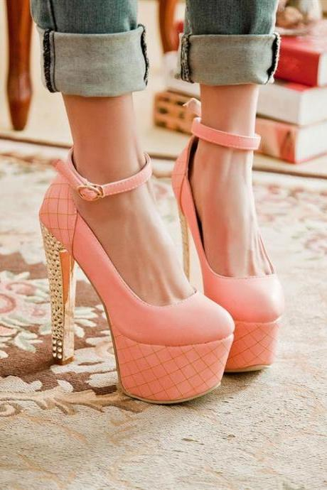 Fashion Round Toe Closed Chunky High Heel Ankle Strap Pink PU Pumps