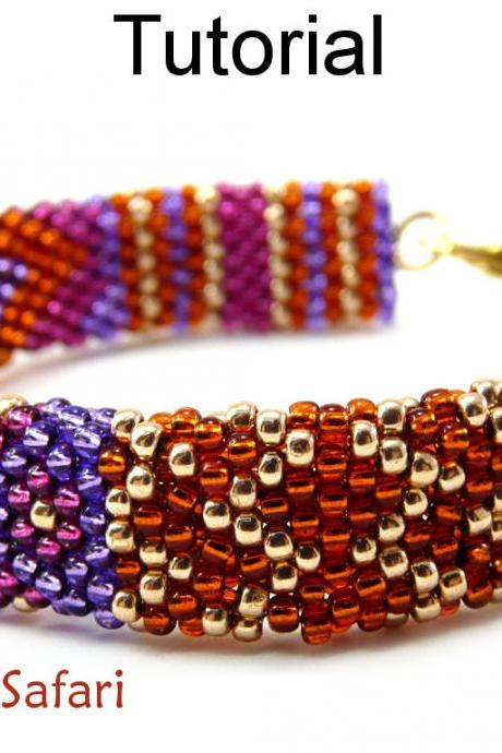 Beading Tutorial Pattern Bracelet - Brick Stitch - Simple Bead Patterns - Summer Safari #6519