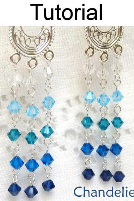 Beading Tutorial Pattern Earrings - Wire Working Chain Jewelry - Crystal Chandelier Earrings #1642