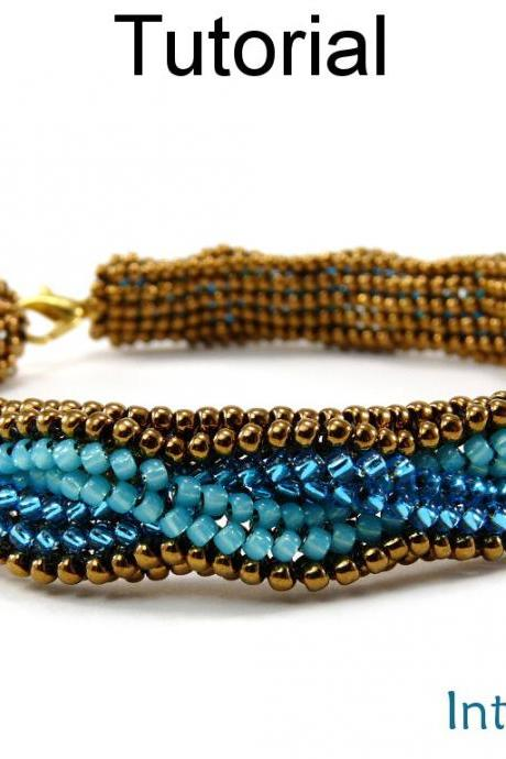 Beading Tutorial Pattern Bracelet - Herringbone Stitch - Interwoven #5295