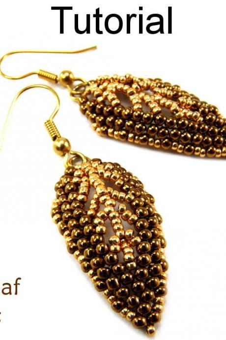 Beading Tutorial Pattern Beaded Earrings - Diagonal Peyote Stitch Russian Leaf - Simple Bead Patterns - Gilded Leaf Earrings #9523