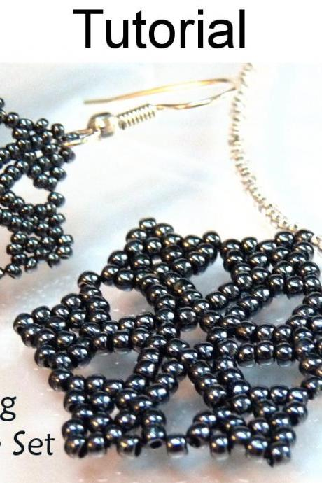 Beading Pattern Tutorial Necklace Earrings Set - Winter Holiday Jewelry - Simple Bead Patterns - Stunning Snowflake Set #3038