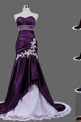 2015 fashion A line strapless prom Dresses lace up evening dress Bridesmaid dresses custom made L15