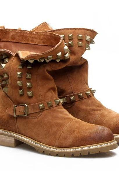 British Style Rivets Round Toe Flat Heel Motorcycle Boots [Grxjy5190706]
