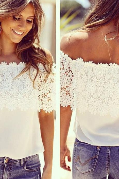New Fashion Women Off Shoulder Casual Tops Blouse Lace Crochet Chiffon Shirt