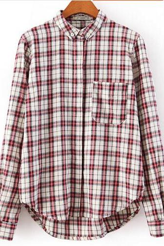 Scottish Plaid High-Low Button-Down Blouse