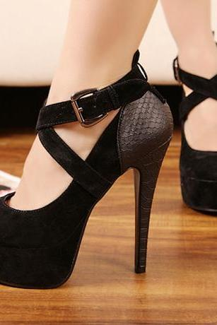 Cross Strap Platform Patchwork Black High Heels Shoes
