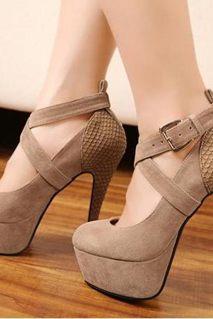 Sexy Cross Strap Platform Patchwork Apricot High Heels Shoes