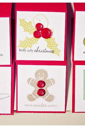 Christmas 3 x 3 mini button cards