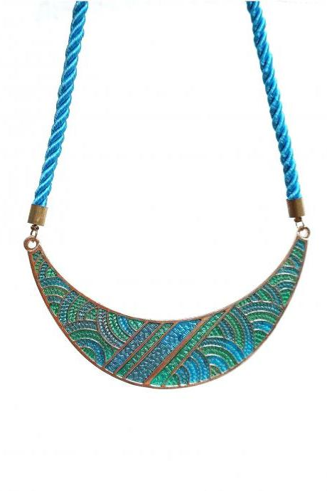 Blue statement necklace, blue bib necklace