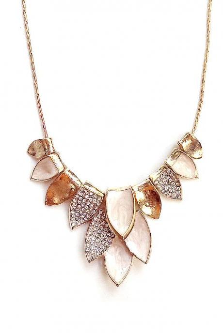 Elegant gold cocktail statement necklace with rhinestones
