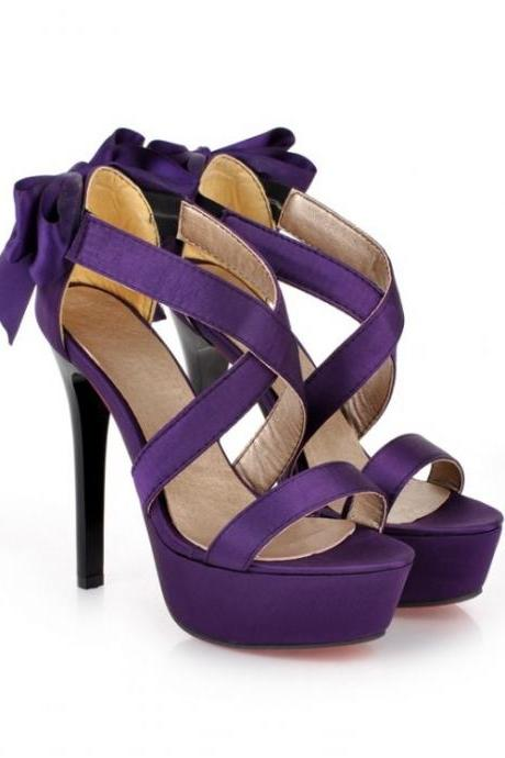 Purple Strappy High Heel Fashion Sandals With Bow