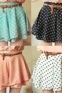 Women Summer Shorts Vintage Dots Fashion New Skirt Pants Pleated Chiffon Short Pants With Belt Candy Colors Polka