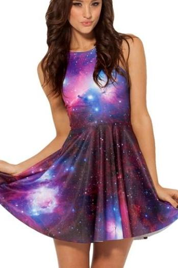 Galaxy Purple Skater Dress GNDE