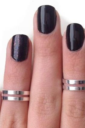 Love Double Knuckle Rings In Silver - Set Of 2