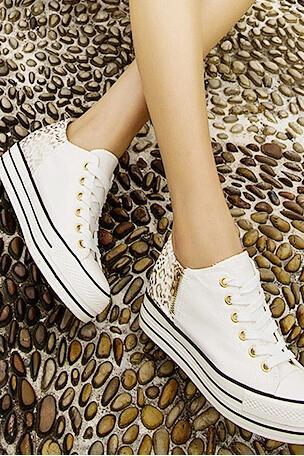 Leopard print within the higher canvas shoes 7955MH