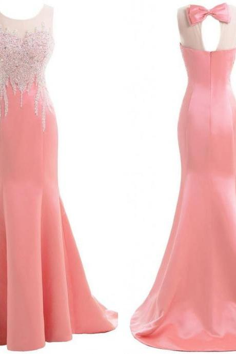 Pink new Long Bridesmaid Dresses 2015, Prom Dresses,Homecoming Dresses, Simple Evening Dresses, Wedding Party Dresses, Hot Party Dress