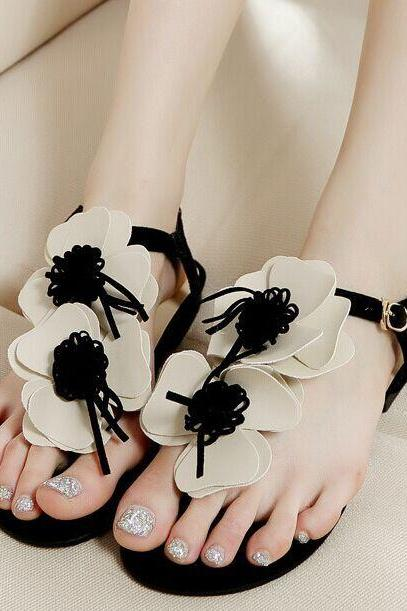 Thong Floral Embellished Flat Sandals