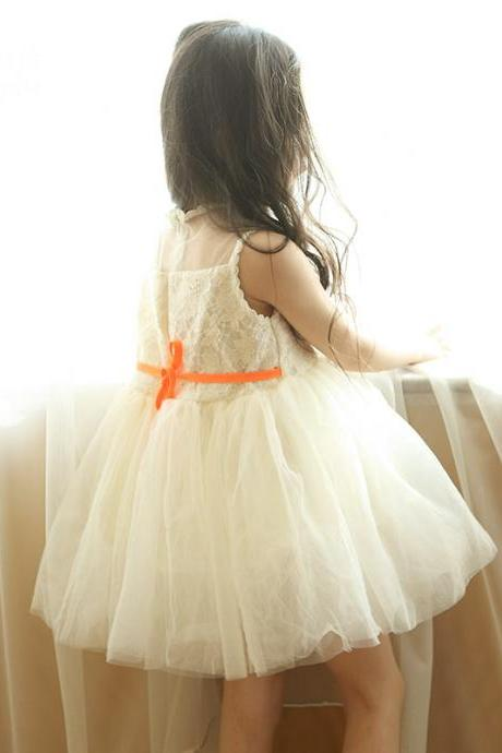 Baby Kid's Flower Girls Summer Fashion Sleeveless Lace Embroidery Cute Princess Party TUTU Dress