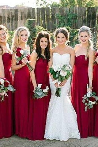 Pretty Wine Red Simple Bridesmaid Dresses 2015, Bridesmaid Dresses 2015, Simple Bridesmaid Dresses, Formal Dresses(color44)