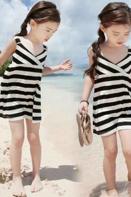 Pure Cotton Baby Girl Toddler Kids Summer Fashion Sleeveless Navy Strip Strap Princess Dress Holiday Party Beach Dress