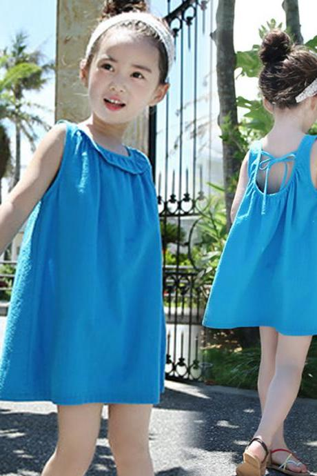 FREE SHIPPING Summer Baby Girls Toddler Kids Fashion Blue Sleeveless Floewer Round Neck Hollow Strap Back Summer Holiday Party Swimming Bathing Beach Dress