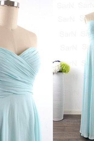 Long Prom Dresses, Custom Strapless Sweetheart Chiffon Ice Blue Formal Dresses, Long Mint Bridesmaid Dresses