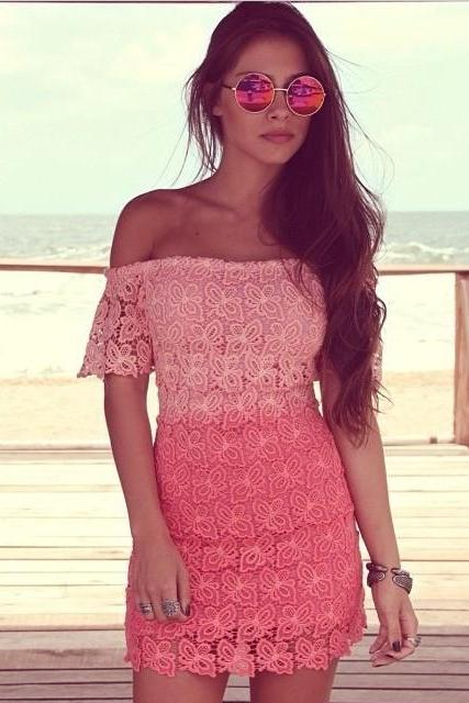 2015 NEW Short Sleeved Hollow Out Lace Dress
