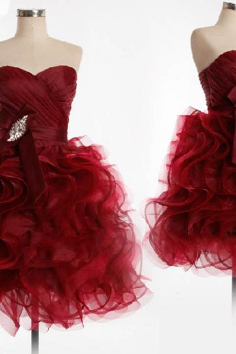 Cute Burgundy Organza Short Ball Gown Prom Dresses, Burgundy Prom Dresses, Homecoming Dresses, Graduation Dresses