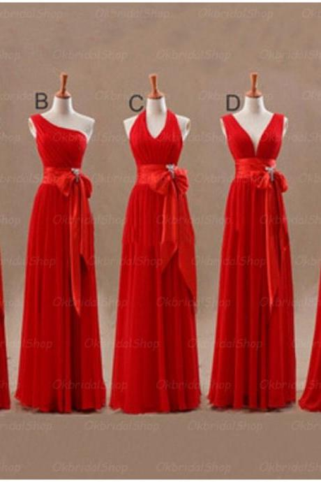 Red bridesmaid dresses, chiffon bridesmaid dress, long bridesmaid dress, cheap bridesmaid dresses, bridesmaid dress 2015, BM046