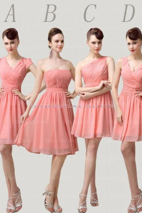 peach bridesmaid dresses, chiffon bridesmaid dress, short bridesmaid dress, cheap bridesmaid dresses, bridesmaid dress 2015, BM047