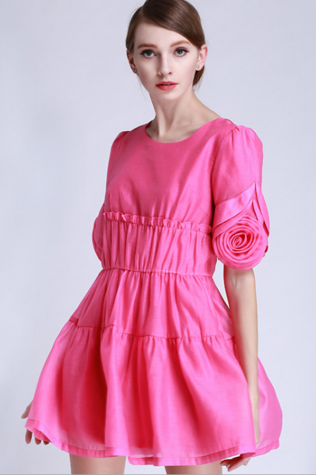2015 round collar seersucker embroider pressure plait dress