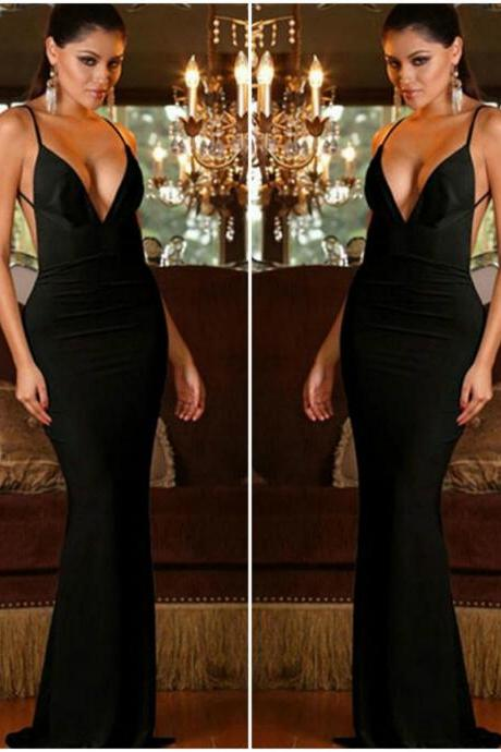 Deep V Neck Sexy Mermaid Dress In Black