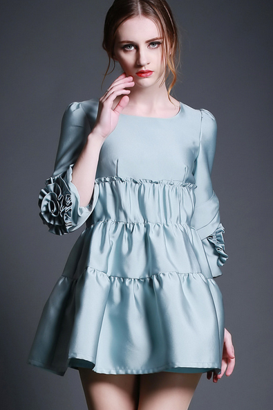 2015 round collar embroider pleated silver dress