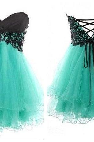 Mint Prom Dresses Lace Ball Gown Sweetheart Short Prom Dress/Cody Butterfly Dress, Homecoming Dresses Party Dresses