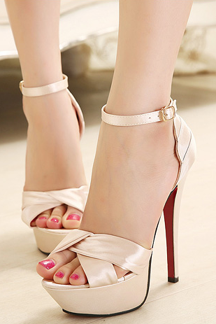 Beige Satin High Heeled Sandals with Slender Ankle Strap, Bridal Shoes