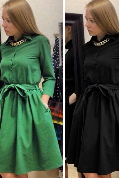 Long Sleeve Lapel Elegant Dress
