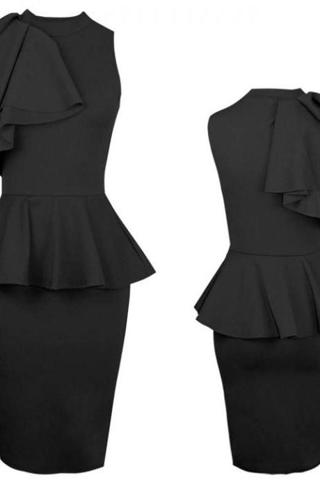 Ruffle Side Bodycon Midi Black Dress