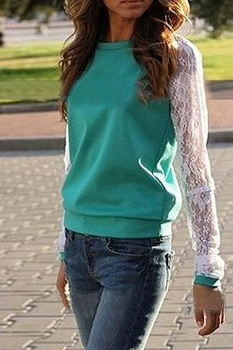 Fashion Lace Spliced Round Neck Long Sleeve Sweatshirt