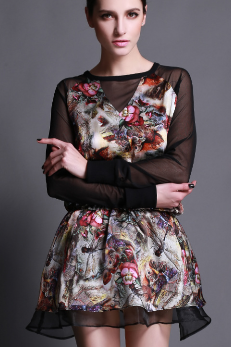 2015 European loose big yards of pure silk dragonfly printed gauze long-sleeved dress