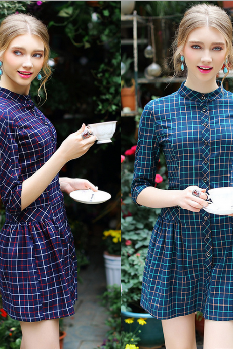 2015 fair maiden temperament collar plaid single-breasted cultivate one's morality dress