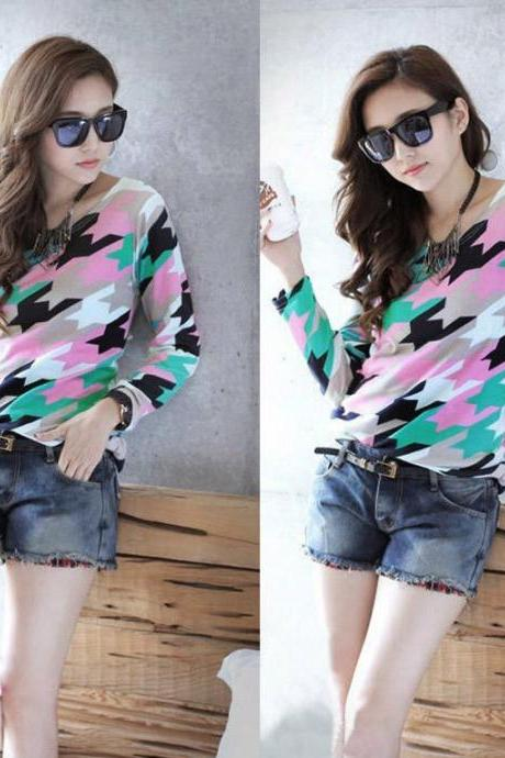New Women Loose Casual Knitted T-shirt Lhong Sirt Pullover Top Blouse Multicolor